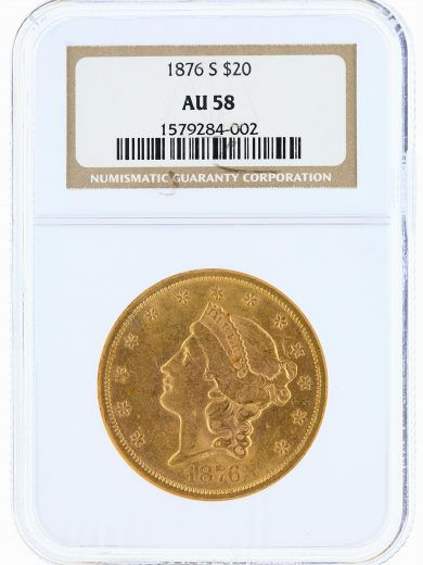 1876-S Liberty Head Double Eagle NGC AU58 $20 obv