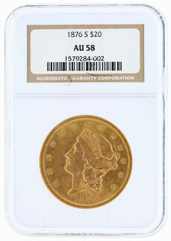 1876-S Liberty Head Double Eagle NGC AU58 $20 obv