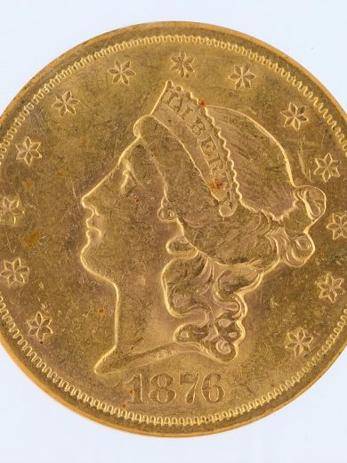 1876-S Liberty Head Double Eagle NGC AU58 $20 obv zm