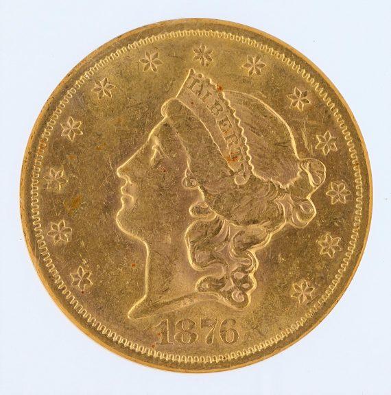 1876-S Liberty Head Double Eagle NGC AU58 $20 obv zm