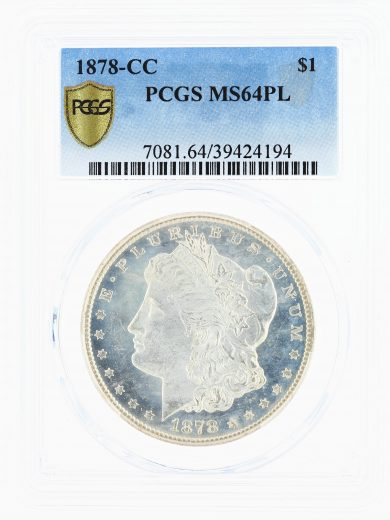 1878-CC PCGS MS64PL S$1 Morgan Dollar obv