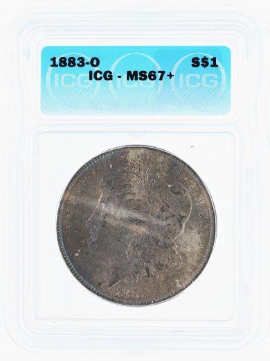 1883-O Morgan Dollar ICG MS67+ S$1 obv zm