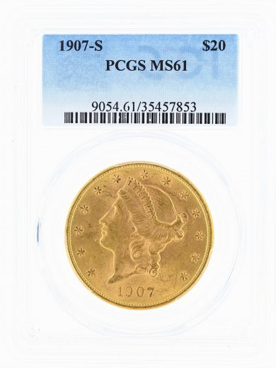 1907-S Double Eagle PCGS MS61 $20 Liberty Head obv