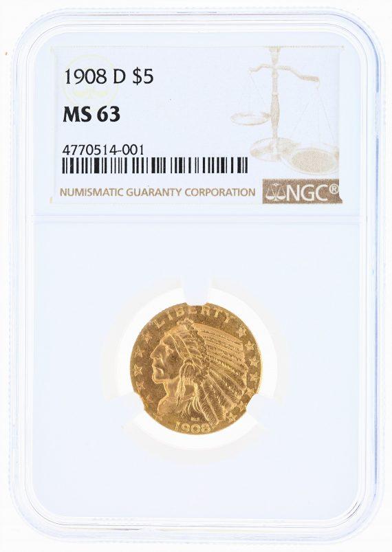 1908-D Half Eagle NGC MS63 Indian Head $5 obv