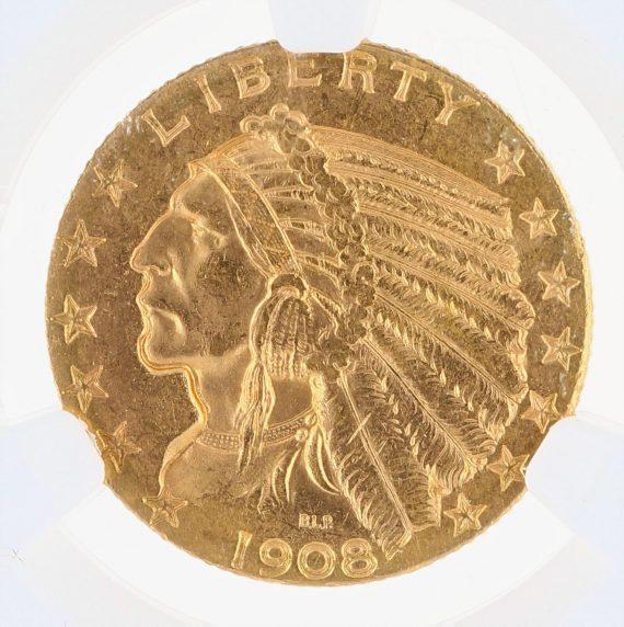 1908-D Half Eagle NGC MS63 Indian Head $5 obv zm