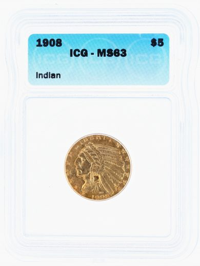1908 Indian Head Half Eagle ICG MS63 $5 obv