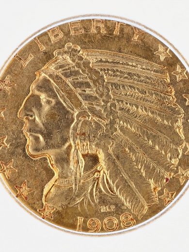 1908 Indian Head Half Eagle ICG MS63 $5 obv zm