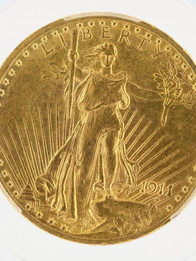 1911 Saint Gaudens PCGS MS62 $20 obv zm