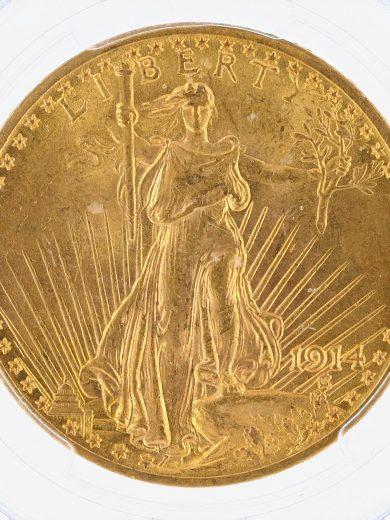 1914 Saint Gaudens PCGS MS63 $20 obv zm