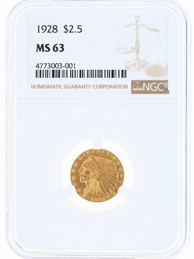 1928 Quarter Eagle NGC MS63 Indian Head $2.50 obv