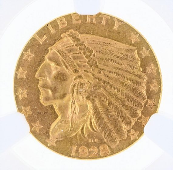1928 Quarter Eagle NGC MS63 Indian Head $2.50 obv zm