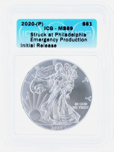2020(P) Silver Eagle ICG MS69 S$1 Emergency Production obv