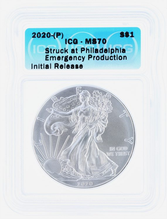 2020(P) Silver Eagle ICG MS70 S$1 Emergency Production obv