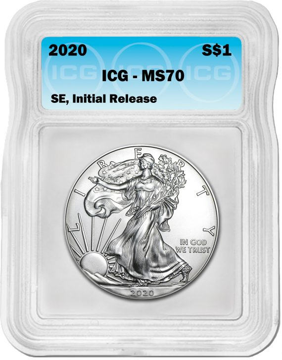 2020(P) Silver Eagle MS70 ICG S$1 Initial Release Blue Tag obv