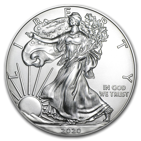 2020(P) Silver Eagle MS70 ICG S$1 Initial Release Blue Tag obv zm