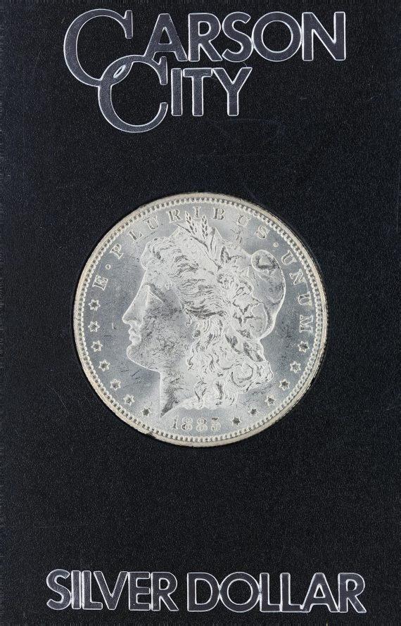 1885-CC Uncirculated Morgan Dollar in a Carson City Holder S$1 obv