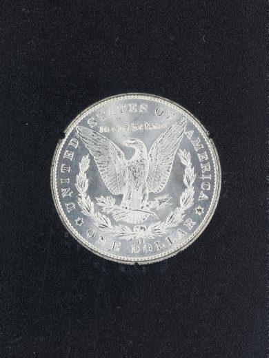 1885-CC Uncirculated Morgan Dollar in a Carson City Holder S$1rev