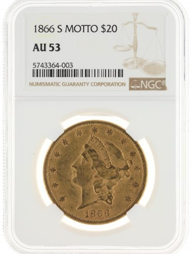 1866-S Motto Double Eagle NGC AU53 $20 Liberty obv