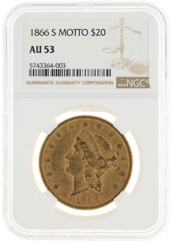 1866-S Motto Double Eagle NGC AU53 $20 Liberty obv