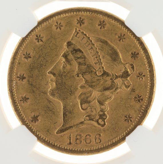 1866-S Motto Double Eagle NGC AU53 $20 Liberty obv zm