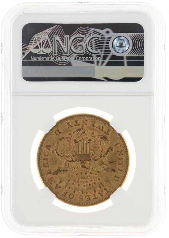 1866-S Motto Double Eagle NGC AU53 $20 Liberty rev