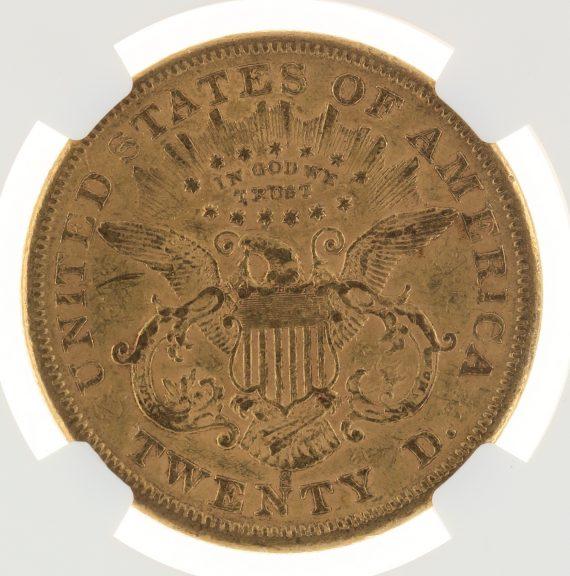 1866-S Motto Double Eagle NGC AU53 $20 Liberty rev zm
