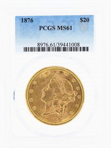 1876 Double Eagle PCGS MS61 $20obv