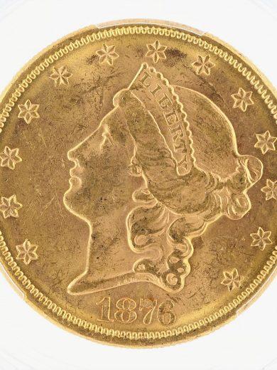 1876 Double Eagle PCGS MS61 $20 obv zm