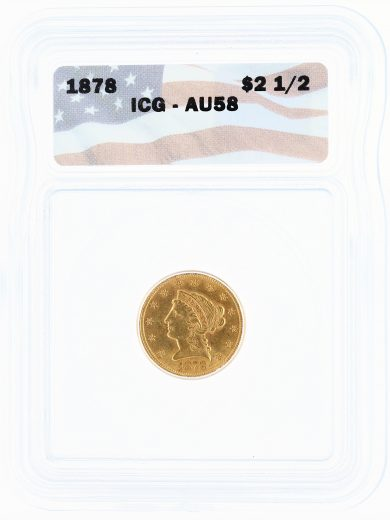 1878 ICG AU58 Quarter Eagle $2.50 Flag Tag obv