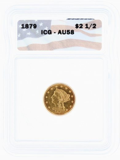 1879 ICG AU58 Quarter Eagle $2.50 Flag Tag obv