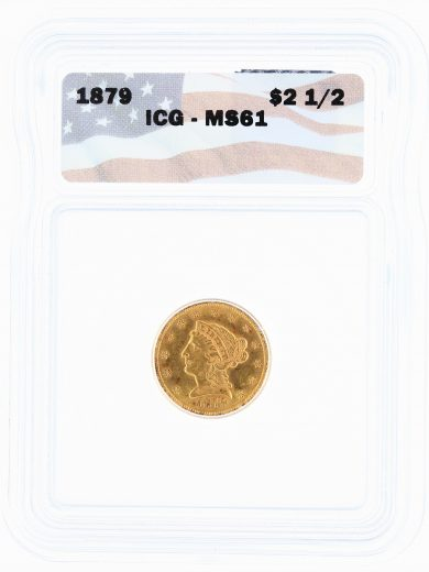 1879 ICG MS61 Quarter Eagle $2.50 Flag Tag obv