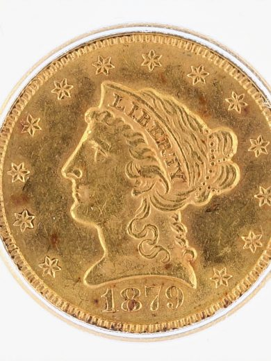 1879 ICG MS61 Quarter Eagle $2.50 Flag Tag obv zm