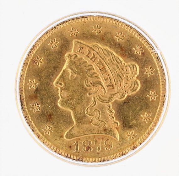 1879 ICG MS61 Quarter Eagle $2.50 Flag Tag obv zm