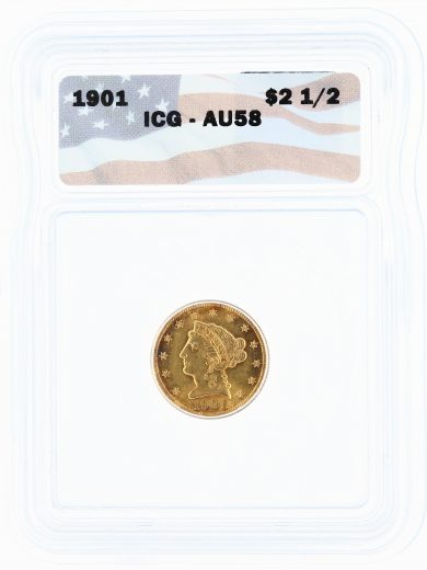 1901 ICG AU58 Quarter Eagle $2.50 Flag Tag obv