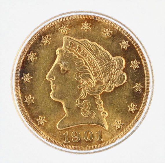 1901 ICG AU58 Quarter Eagle $2.50 Flag Tag obv zm