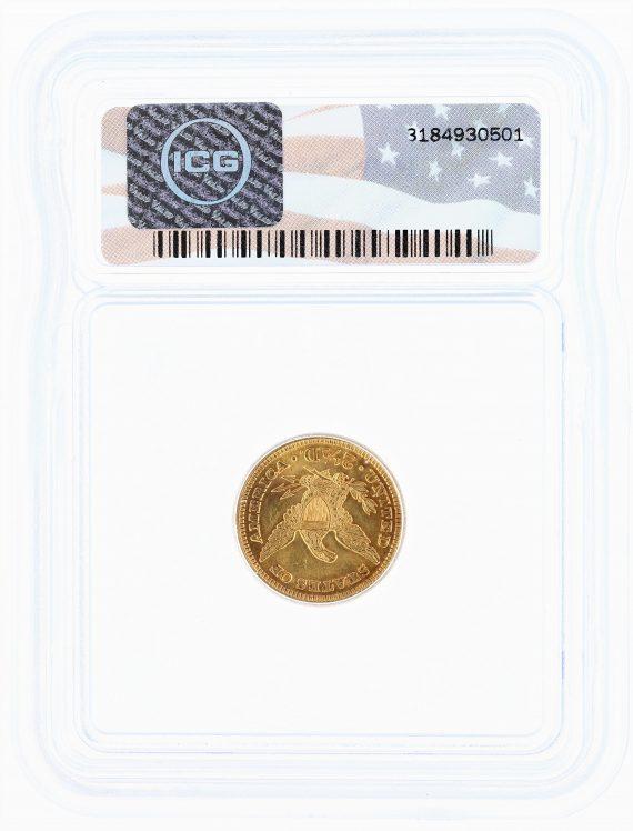 1901 ICG AU58 Quarter Eagle $2.50 Flag Tag rev