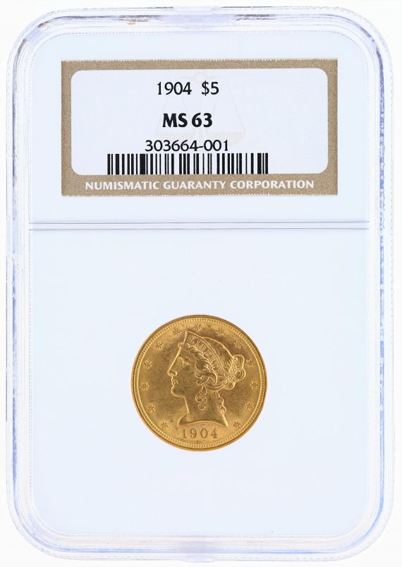 1904 Half Eagle NGC MS63 $5 obv