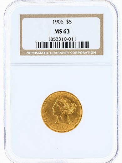 1906 Half Eagle NGC MS63 $5 obv