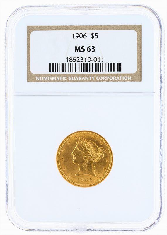 1906 Half Eagle NGC MS63 $5 obv