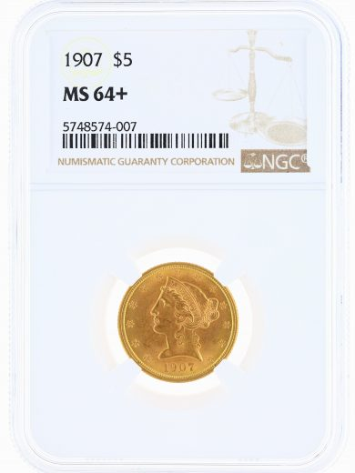 1907 Half Eagle NGC MS64+ $5 obv