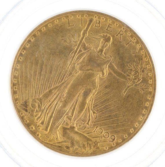 1909/8 Saint Gaudens PCGS AU58 $20 obv zm