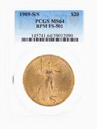1909-S/S Saint Gaudens PCGS MS64 $20 obv