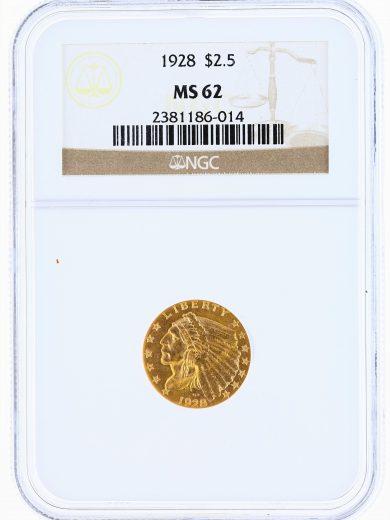 1928 Quarter Eagle NGC MS62 Indian Head $2.50 obv