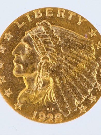 1928 Quarter Eagle NGC MS62 Indian Head $2.50 obv zm