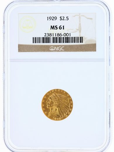 1929 Quarter Eagle NGC MS61 Indian Head $2.50 obv
