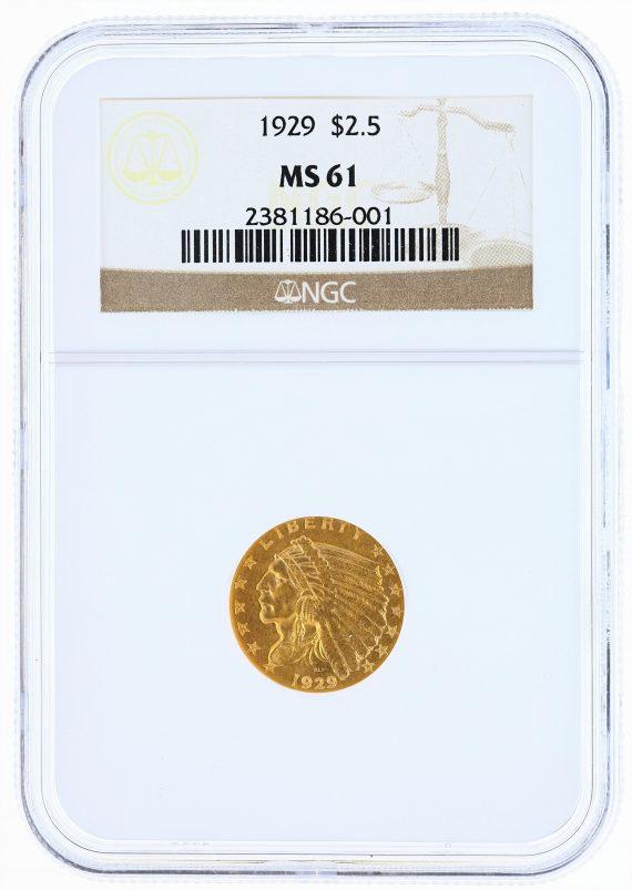 1929 Quarter Eagle NGC MS61 Indian Head $2.50 obv