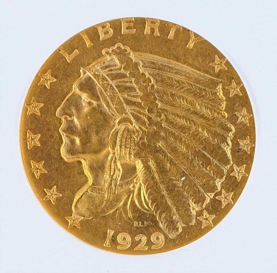 1929 Quarter Eagle NGC MS61 Indian Head $2.50 obv zm