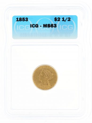 1853 Quarter Eagle ICG MS63 $2.50 Liberty Head obv