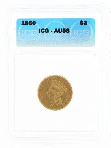 1860 Three Dollar ICG AU58 Princess Head $3 obv