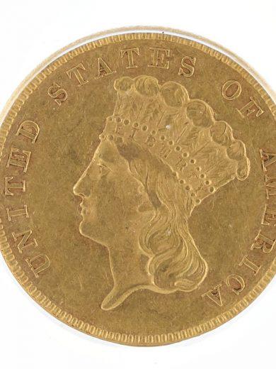 1860 Three Dollar ICG AU58 Princess Head $3 obv zm